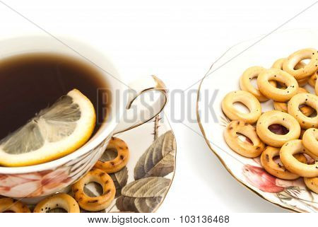 Bagels And Cup Of Tea With Lemon Closeup