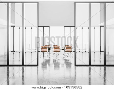White empty meeting room with crystal doors. 3d render