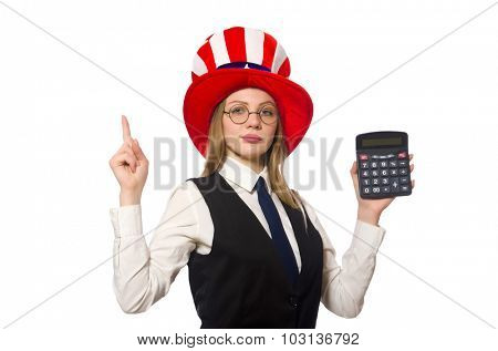 Woman with calculator isolated on white