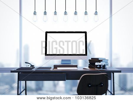 Mock up of modern workspace with windows and lamps. 3D rendering