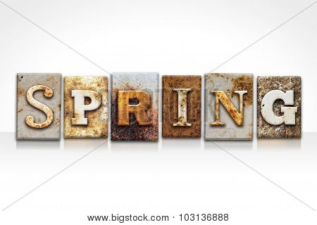 Spring Letterpress Concept Isolated On White