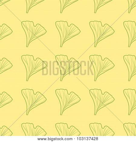 Ginkgo biloba pattern seamless.  Silhouette of ginkgo leaves