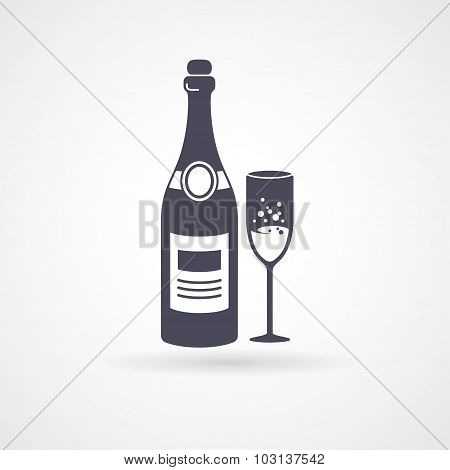 Champagne and glass flat icons.