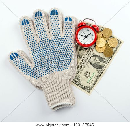Alarm clock with gloves