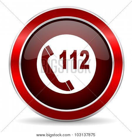 emergency call red circle glossy web icon, round button with metallic border