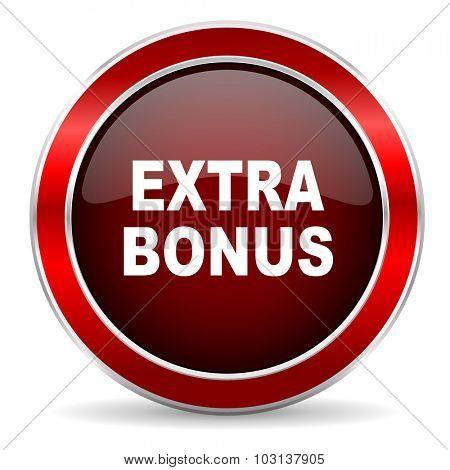 extra bonus red circle glossy web icon, round button with metallic border