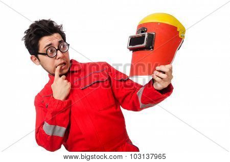 Funny welder isolated on white