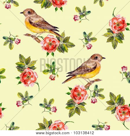 Pretty seamless yellow background with rose flowers and birds