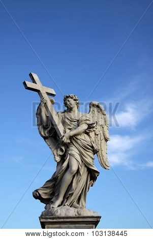 Angel Statue On The Ponte Sant Angelo In Rome, Italy