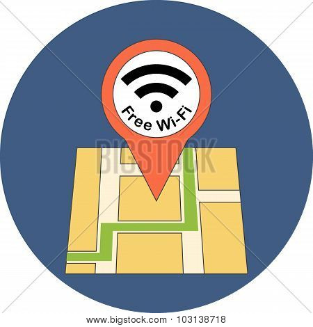 Finding Free Wi-fi Zone Concept. Flat Design.