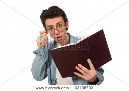 Student with book isolated on white