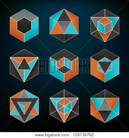 Abstract geometric elements set usable for icons and spiritual themes