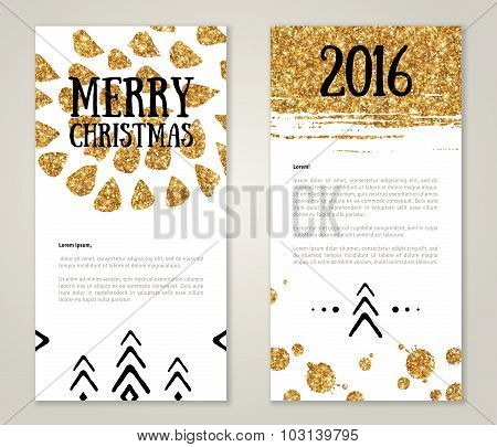 Cute New Year Greeting Cards with Gold Confetti Glitter Texture.