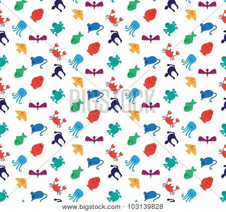 Animals icons seamless pattern