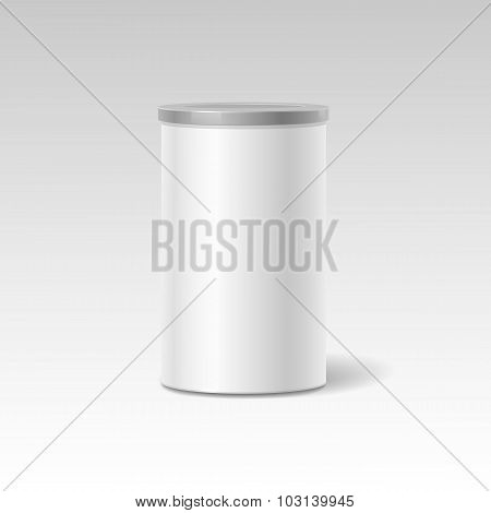 object. White round tin packaging. Tea coffee, dry products. Place your design. Realistic shadow.