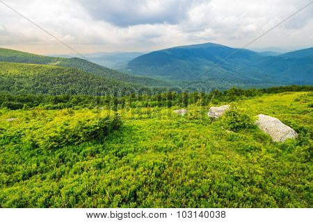 Slope With White Boulders In Mountains At Sunrise