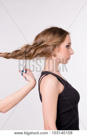 Cutting Beautiful Girl's Long Hair