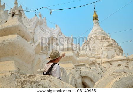 Man In White Temple In Mandalay