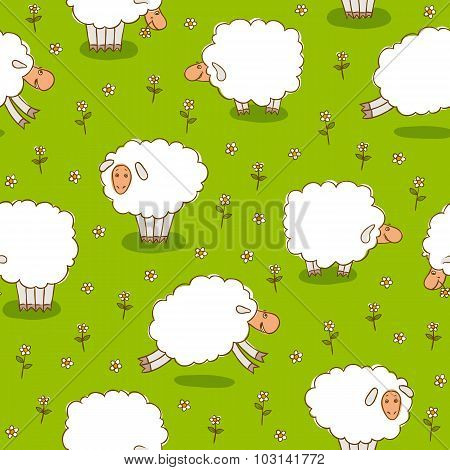 White Sheep Grazing On a Green Meadow
