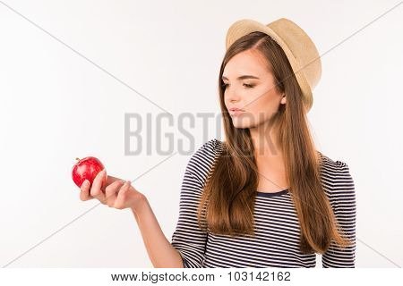 Sexy Beautiful Girl With Hat And Apple