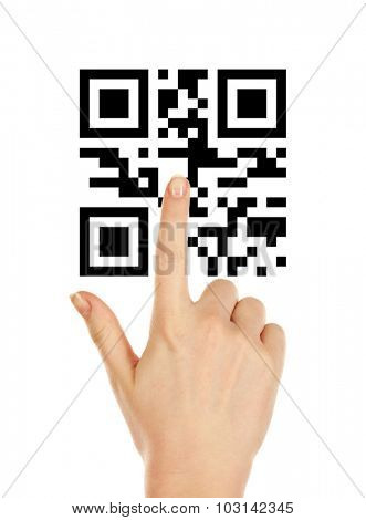 Hand presses on QR code