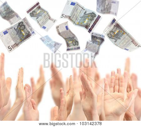 Many hands reaching out for money, isolated on white