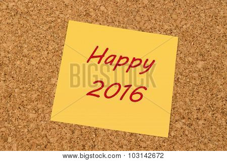 Yellow sticky note - Happy New Year 2016