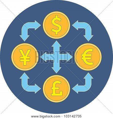 Currency Exchange Concept. Flat Design.