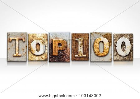 Top 100 Letterpress Concept Isolated On White