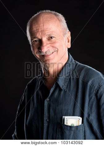 Lucky Old Man With Dollar Bills In The Pocket