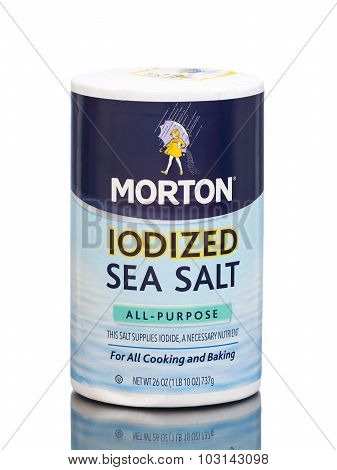 MIAMI, USA - March 30, 2015: A package of Morton Salt Iodized Sea Salt - 26 oz