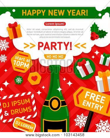 Merry Christmas and Happy New Year Party Invitation Card.