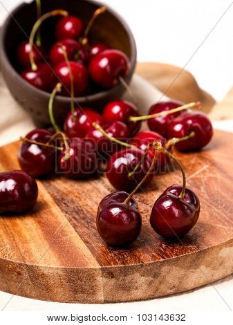 Berry. Cherry on the table