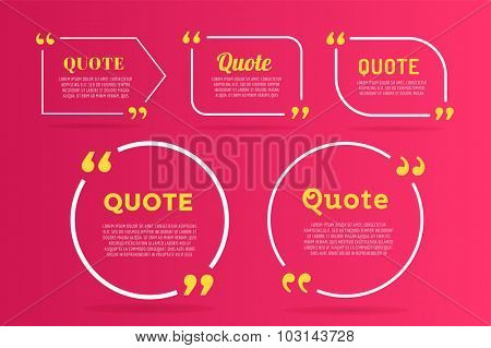 Quote blank template. Quote bubble. Empty template. Quote design, quoting box, text sign reference, paper information template. Quote form. Bubble template vector set. Red quote blank icon isolated