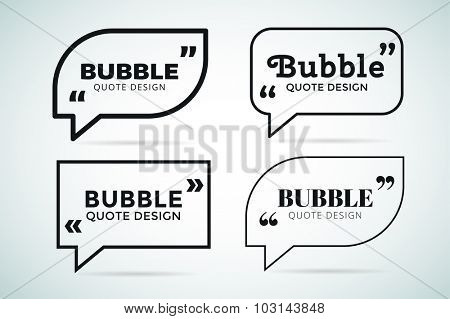 Quote blank template. Quote bubble. Empty template. Quote design, quoting box, text sign reference, paper information template. Quote form. Bubble template vector set. White quote blank icon isolated