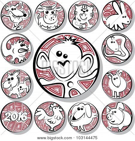 Chinese Zodiac Icon Signs