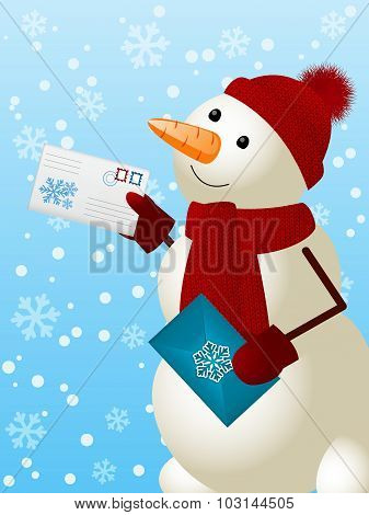 Funny Snowman With Christmas Mail