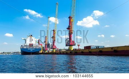 MANAUS, BRAZIL - CIRCA SEPTEMBER 2015: Industrial ship in Manaus harbor, Amazon, Brazil.