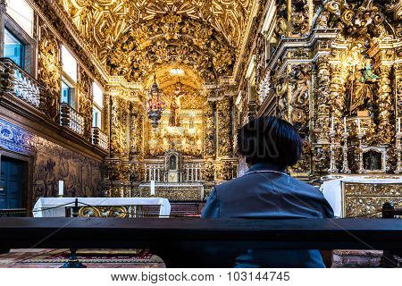 BAHIA, BRAZIL - CIRCA NOV 2014: Church of St. Francis of Assisi in Salvador, Bahia, Brazil.