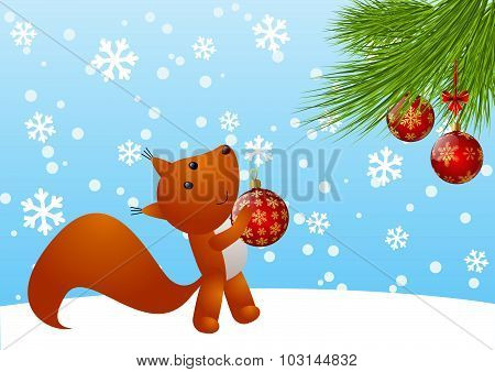 Little squirrel with Christmas tree