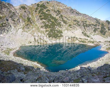 glacier lake in rila national park bulgaria