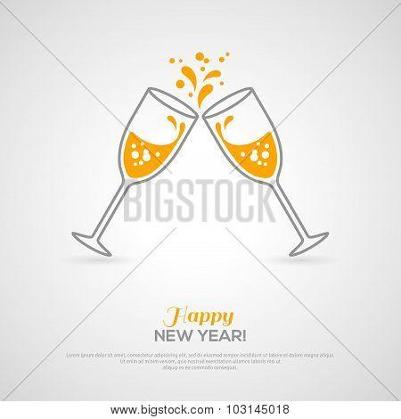 Sparkling champagne glasses. Minimalistic concept