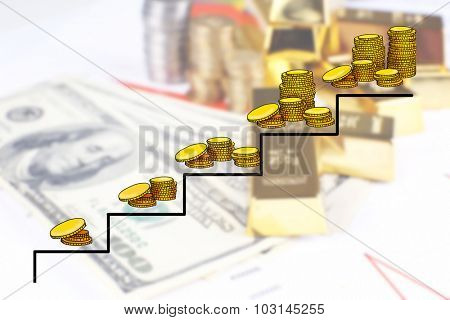 Money concept. Gold bullion with money
