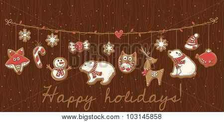 Christmas cookies. Garland set design. Vector illustration