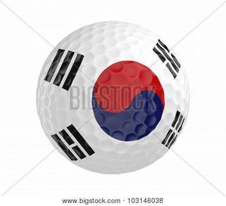 Golf ball 3D render with flag of South Korea, isolated on white