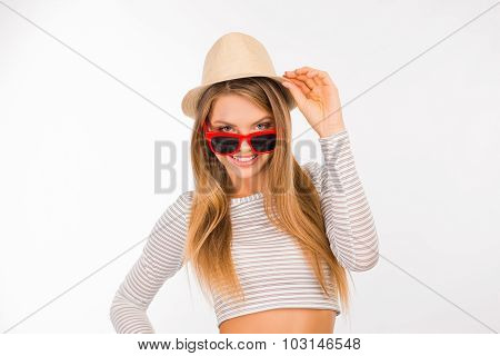 Cute Girl Holding A Hat With Glasses