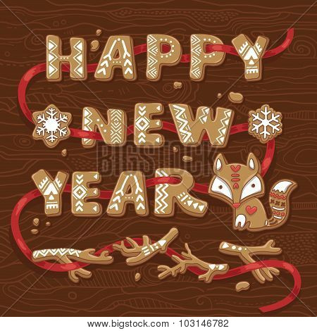 Happy New Year congratulation text made of gingerbread