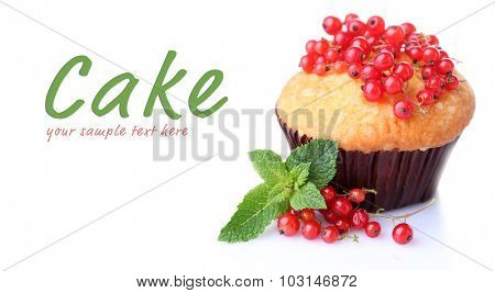 Tasty muffin with red currant isolated on white