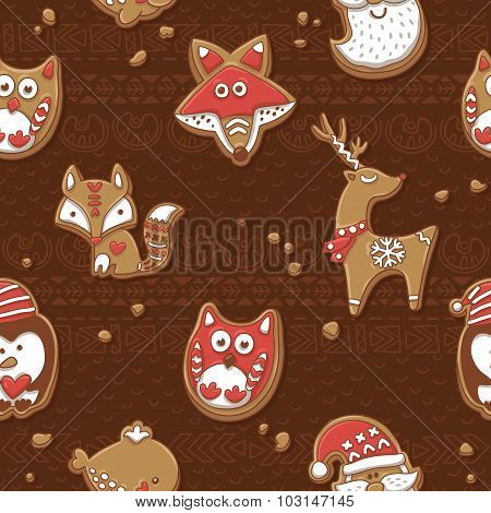 Seamless pattern with Christmas gingerbread cookies