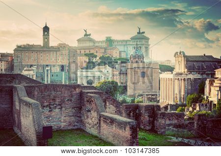 Rome, Italy vintage skyline. Roman Forum and Altare della Patria - National Monument to Victor Emmanuel II.  Deem, retro style light